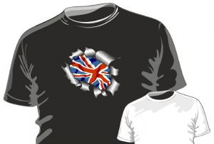 RIPPED TORN METAL Design With Union Jack British Flag Motif mens or ladyfit t-shirt